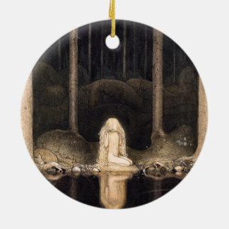 Buscar su cuento de hadas de la fantasía del adorno navideño redondo de cerámica
