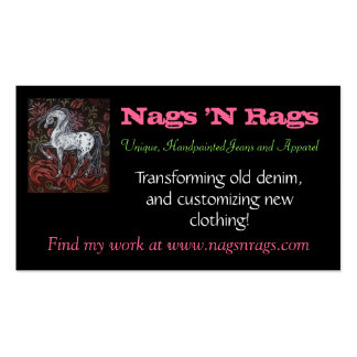 buscard, Nags 'N Rags, Unique, Handpainted Jean... Double-Sided Standard Business Cards (Pack Of 100)