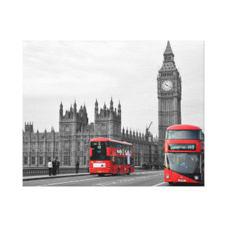 Buses on Westminster Bridge Wrapped Canvas Canvas Print