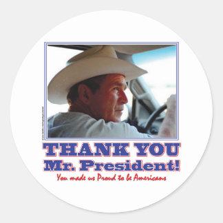 Bush-Agradecer-Usted-Americano Etiquetas Redondas