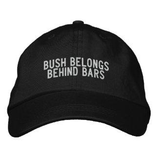 bush belongs behind bars embroidered baseball caps