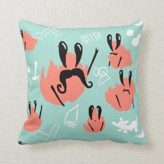 Bush Crabs mint and coral cushion