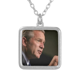 Bush deep in discussions silver plated necklace