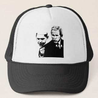 bush obama mask trucker hat