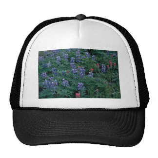 Bush Of Blue And Red Flowers Trucker Hat