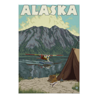 Bush Plane and Fishing Vintage Travel Poster