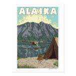 Bush Plane and Fishing Vintage Travel Poster Postcard