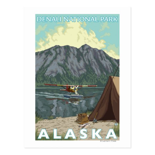 Bush Plane & Fishing - Denali Nat'l Park, Postcard