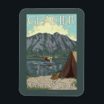 "Bush Plane &amp; Fishing - Glacier National Park, MT Magnet<br><div class=""desc"">Bush Plane &amp; Fishing - Glacier National Park,  MT - Vintage Travel Poster was created in 2007. This image depicts scenes from Glacier National Park,  MT.</div>"