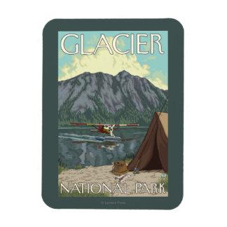 Bush Plane & Fishing - Glacier National Park, MT Rectangular Photo Magnet
