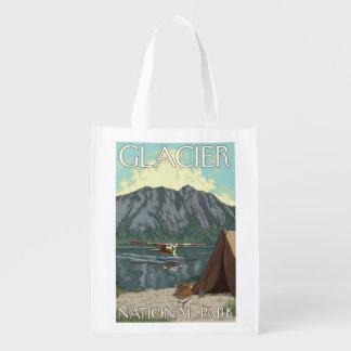 Bush Plane & Fishing - Glacier National Park, MT Reusable Grocery Bag