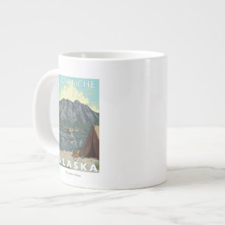 Bush Plane & Fishing - Latouche, Alaska Large Coffee Mug