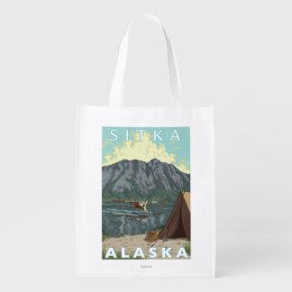Bush Plane & Fishing - Sitka, Alaska Grocery Bags