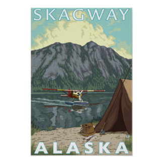 Bush Plane & Fishing - Skagway, Alaska Poster