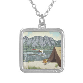 Bush Plane Fishing Tent Hunt Silver Plated Necklace
