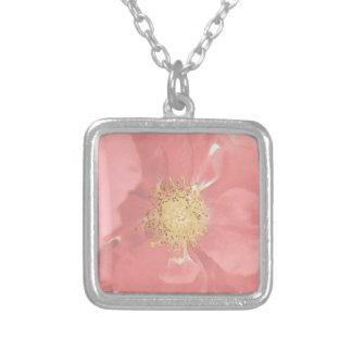 Bush Roses Mono Square Pendant Necklace