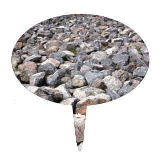Bush setting of man made rock formation pattern cake toppers
