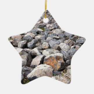 Bush setting of man made rock formation pattern ceramic ornament