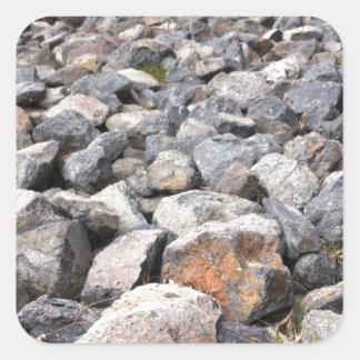 Bush setting of man made rock formation pattern square sticker
