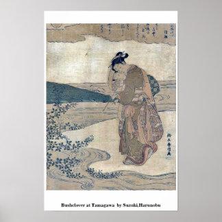Bushclover at Tamagawa  by Suzuki,Harunobu Poster