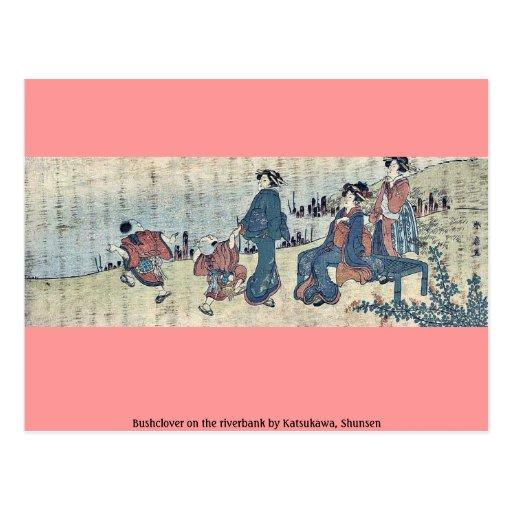 Bushclover en el riverbank por Katsukawa, Shunsen Tarjetas Postales