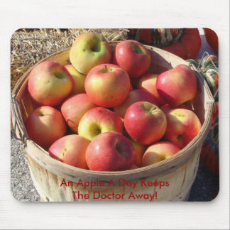 Bushel Basket Of Apples, An Apple A Day Keeps T... Mouse Pad