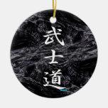 BUSHIDO KANJI white Double-Sided Ceramic Round Christmas Ornament