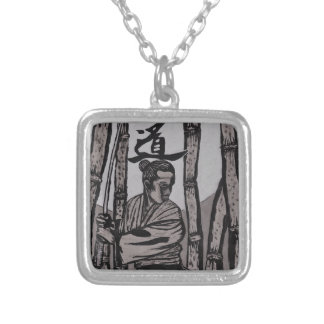 Bushido Moon  by Cartrer L. Shepard Silver Plated Necklace