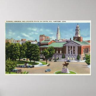 Bushnell Memorial, Lafayette Statue Poster
