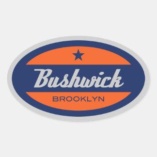 Bushwick Pegatina Ovalada