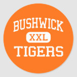 Bushwick - tigres - alto - Brooklyn Nueva York Etiqueta Redonda