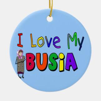 """Busia """"amo ornamento del navidad de mi Busia"""" Adorno Navideño Redondo De Cerámica"""