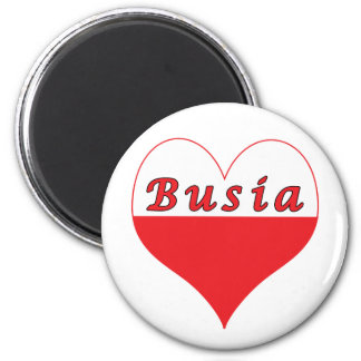 Busia Polish Heart 2 Inch Round Magnet