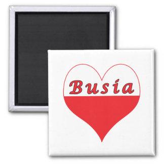 Busia Polish Heart 2 Inch Square Magnet