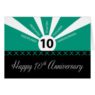 Business 10th Year Employee Anniversary, Green Card