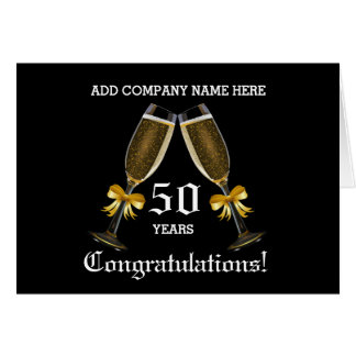 Business 50th Anniversary - Champagne Glasses Card