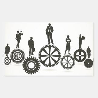 Business a gear wheel rectangular sticker