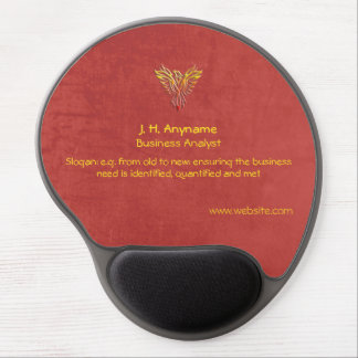 Business Analyst, phoenix logo, red leather-effect Gel Mouse Pad