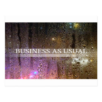 business as usual postcard
