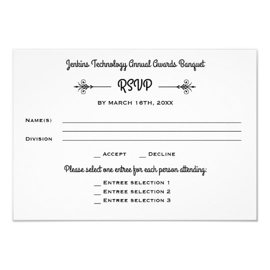 Business Banquet Corporate Dinner Event Rsvp Reply Invitation