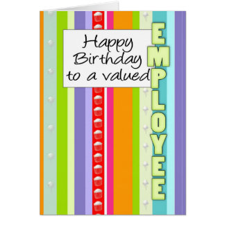 Business Birthday Card With Stripes - Employee Bir