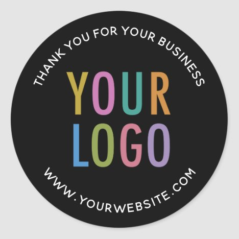 Business Black Thank You Sticker Custom Logo Round
