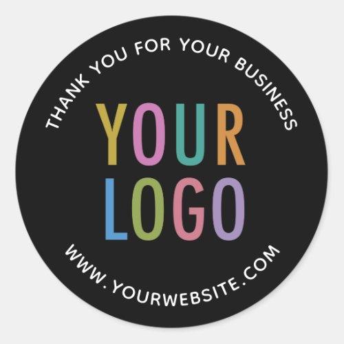 Business Black Thank You Sticker Custom Logo Round