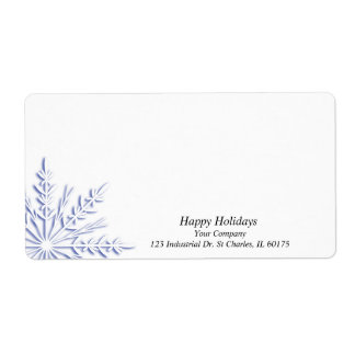 Business Blue Snowflake on White Label