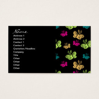 Business Candy Butterflies On Black Business Card