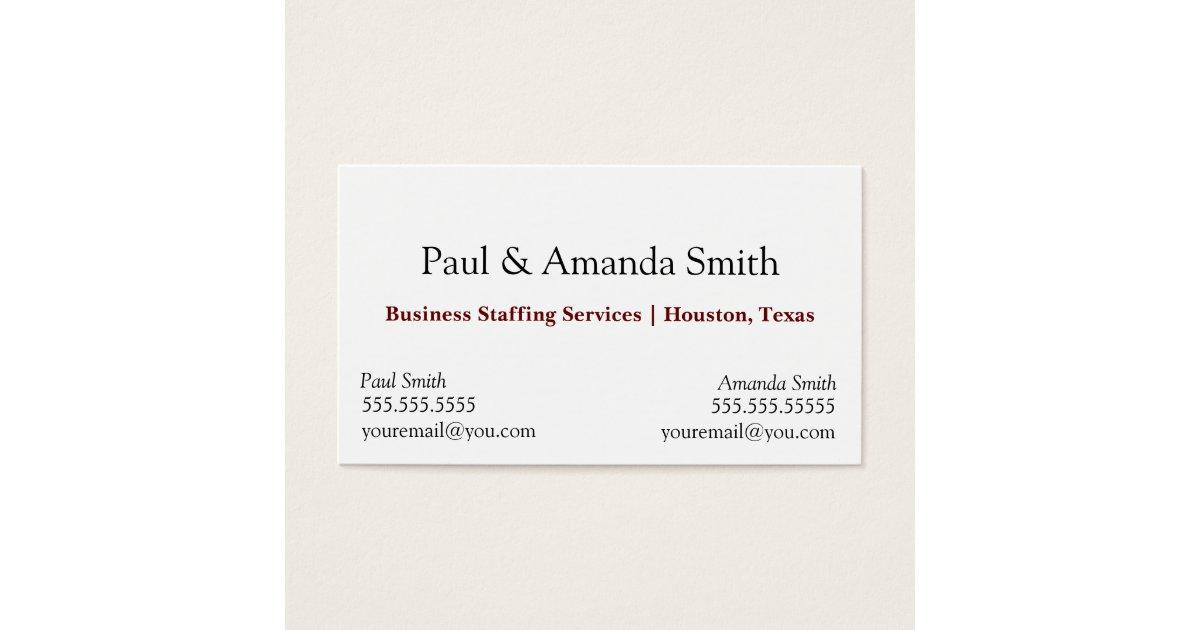 Business Card - 2 names | Zazzle.com