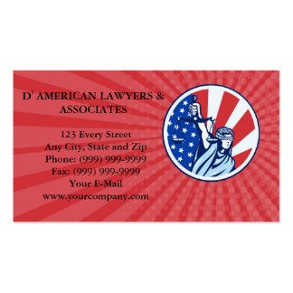 Business card American Lady Holding Scales of Just