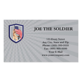 Business Card American Soldier Flag Shield