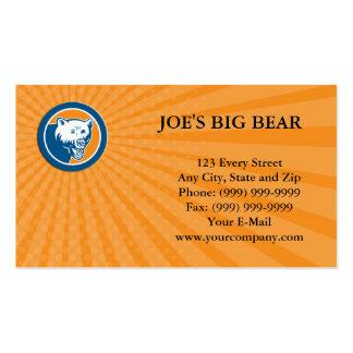 Business card Angry Bear Head Circle Retro