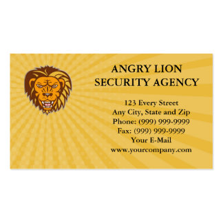 Business card Angry Lion Big Cat Growling Head Ret